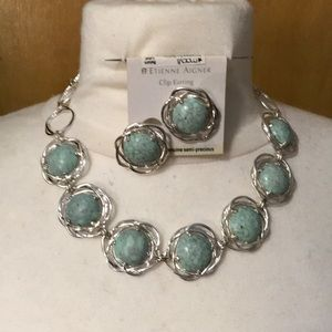 Light Turquoise color necklaces and Clip earrings